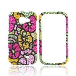 PINK YELLOW FLOWER Bling Case For Samsung Transform