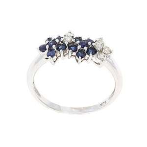 White Gold Genuine Blue Sapphire and Diamond Ring Size 6.75 Jewelry