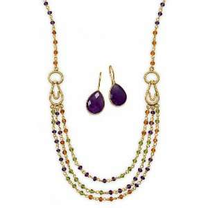 Silver Necklace ONLY, Carnelian/Peridot/Amethyst Beads, 18 inch