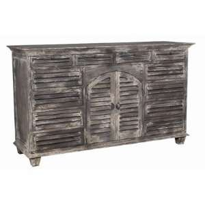 Louvered Buffet in Driftwood Waterfront Grey: Furniture