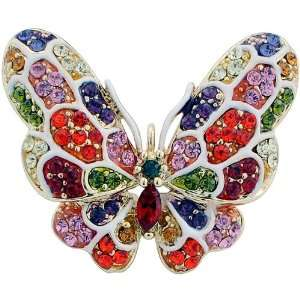 Colorized Swarovski Crystal Butterfly Black Insect Brooch Pin Jewelry