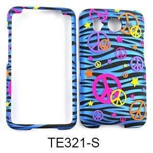 ATT HTC Inspire 4g Accessory   Blue Zebra Peace Designer Hard Case