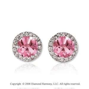 14k White Gold 2 Carat Pink Sapphire Diamond Stud Earrings