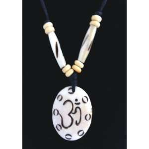 Om Yak Bone Necklace ibean Carved Om