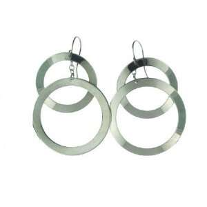 Stainless Steel Double Ring Dangle Earring with Chain [Jewelry