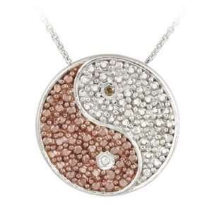 Gold over Silver Champagne Diamond Accent Yin yang Necklace Jewelry