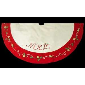 56 Cream Noel Christmas Tree Skirt with Beaded Holly