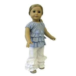 American Girl Doll Clothes Blue Ruffle Outfit Toys