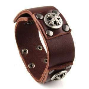 Genuine Leather Bracelet   Gladiator Celtic Cross Jewelry