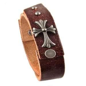 Genuine Leather Bracelet   Gladiator Celtic Cross   Brown Jewelry