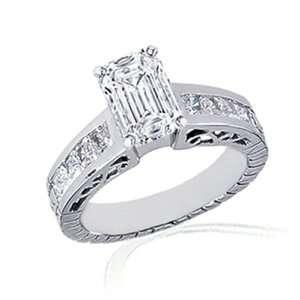 80 Ct Emerald Cut Diamond Engagement Ring 14K SI1 G IGI CUT VERY GOOD
