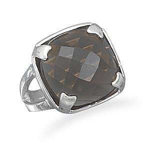Square Faceted Smoky Quartz Sterling Silver Ring Jewelry