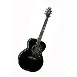 Deluxe Acoustic Electric Guitar, Black with Case Musical Instruments