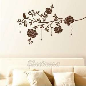 Flower and Bird Home Art Mural Decor Wall Sticker with Jewelry VS 612
