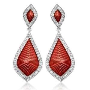 Sterling Silver Enamel Teardrop Diamond Dangle Earrings (2/5 cttw, I J