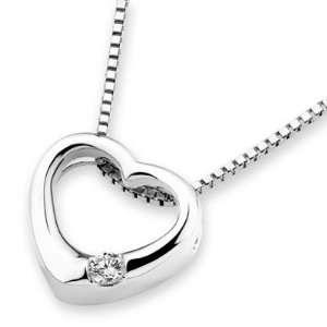 18K White Gold Heart Solitaire Round Diamond Pendant w/925