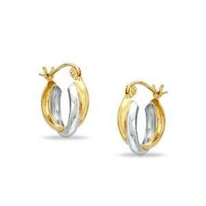 14K Two Tone Gold Woven Double Hoop Earrings HINGED HOOPS Jewelry