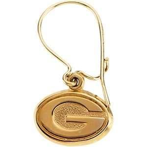 14K Yellow Gold Green Bay Packers Dangle Earrings