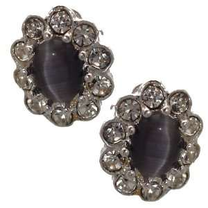 Adorlee Silver Grey Crystal Clip On Earrings Jewelry