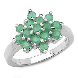 1.05 Carat Genuine Emerald Sterling Silver Ring Jewelry