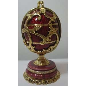 Faberge Red Easter Big Egg with Wooden Egg Inside 5.5 (14cm) (JD818B)