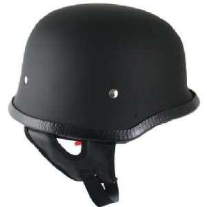 Outlaw German Style Matte Black Half Face Helmet XL