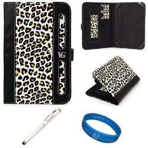 Gold Leopard Design Executive Leather Folio Case Cover for