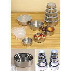 Stainless Steel Food Storage Container Set   5 Pcs of Mixing Bowls