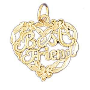 14kt Yellow Gold Best Friend In Heart Pendant Jewelry