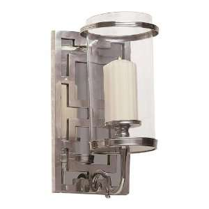Silver Mirrored Hurricane Glass One Light Sconce