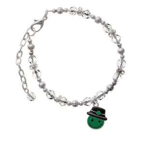 Good Luck Smiley Face Clear Czech Glass Beaded Charm Bracelet [Jewelry