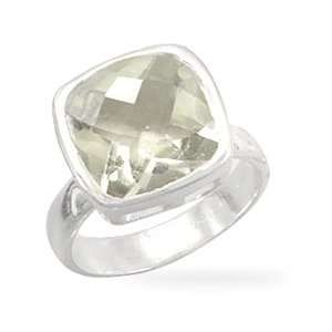 CleverSilvers Faceted Green Amethyst Sterling Silver Ring