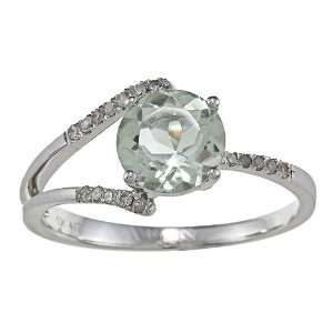 10k White Gold Round Green Amethyst and Diamond Ring (1/8