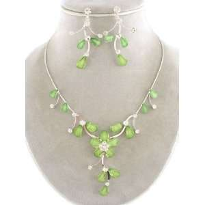 Fashion Jewelry ~ Green Flower Drop Pendant Accented with Crystals
