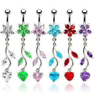 Belly Ring with Green Cubic Zirconia Flower and Dangling
