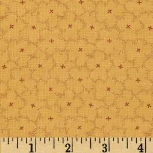 44 Wide Village Green Flower Gold Fabric By The Yard