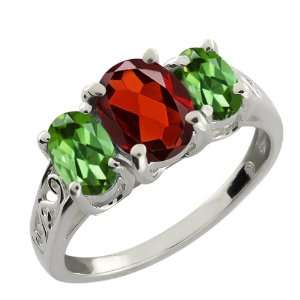 2.20 Ct Oval Red Garnet and Green Tourmaline Argentium
