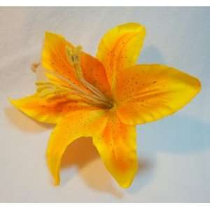 Yellow Orange Lily Hair Flower Clip