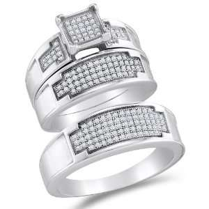 925 Sterling Silver Plated in White Gold Rhodium Diamond His & Hers