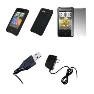 HTC Aria   Black Soft Silicone Gel Skin Cover Case + Crystal Clear