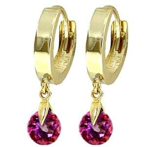 14k Solid Gold Huggie Earrings with dangling Pink Topaz Jewelry