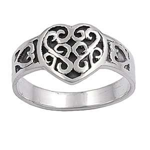 Sterling Silver 11mm Heart Ring (Size 5   10)   Size 10 Jewelry
