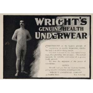 1898 Ad Wrights Union Suit Underwear Long Johns Man   Original Print