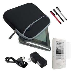 BLACK GLOVE CASE+SCREEN PROTECTOR+BLACK USB WALL ADAPTER+3 COLOR