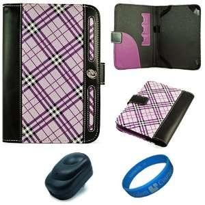 com Purple Plaid Executive Leather Folio Case Cover for  Kindle