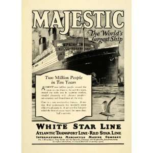 1925 Ad Majestic World Largest Ship Sailboat Steam Engine White Star