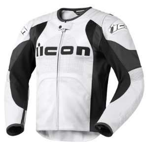 Icon Overlord Prime Leather Motorcycle Jacket   White