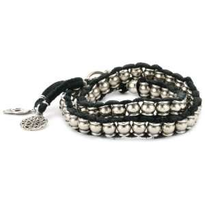 Colored Barrel Beads Black Leather Wrap Bracelet with Charms Jewelry
