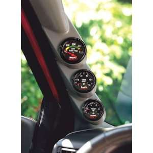 Gauge Pillar Mount No Notch   Black   Ford Powerstroke Automotive
