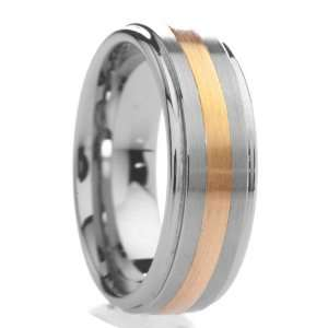 mm Mens Tungsten Carbide Rings Wedding Bands Raised Center with Gold